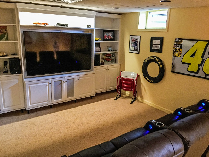 Basement converted to Home Entertainment Center