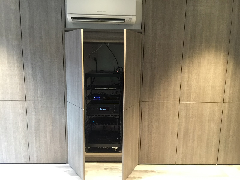 A/V Equipment Rack Behind Hidden Doors